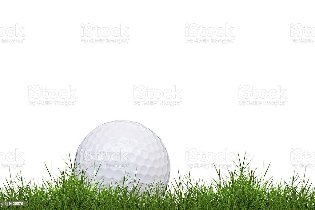 Pallina da golf con erba verde isolato foto stock royalty-free