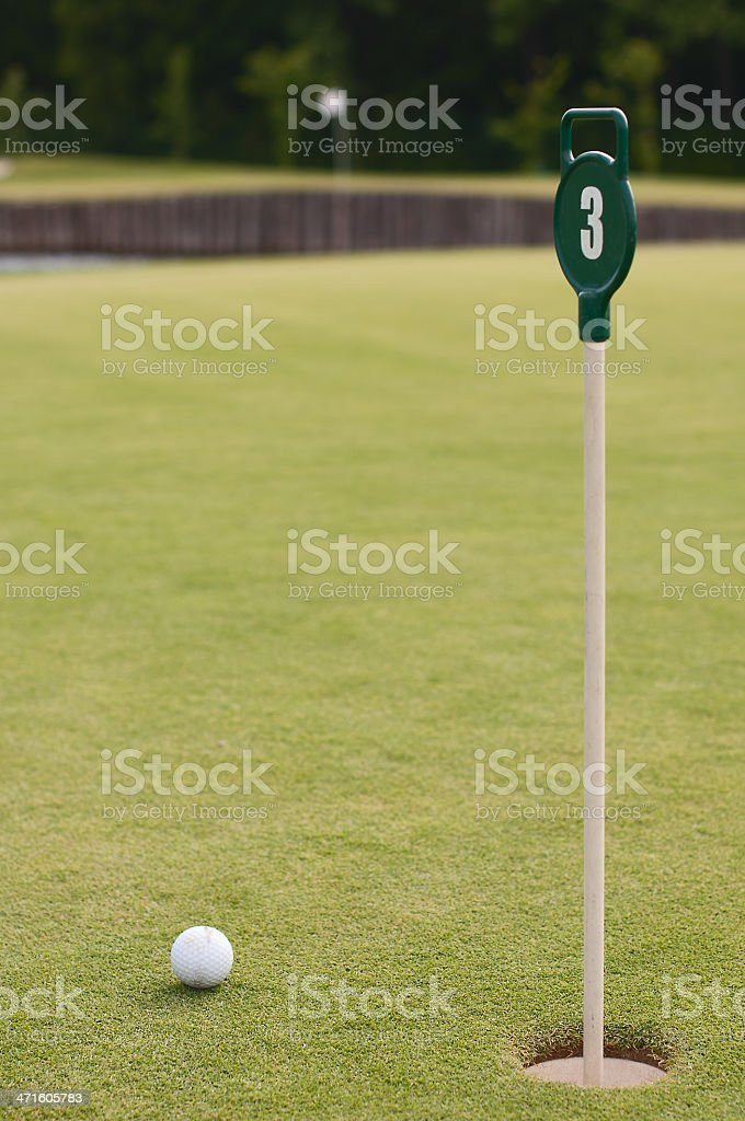 Golf ball on green grass, selective focus royalty-free stock photo