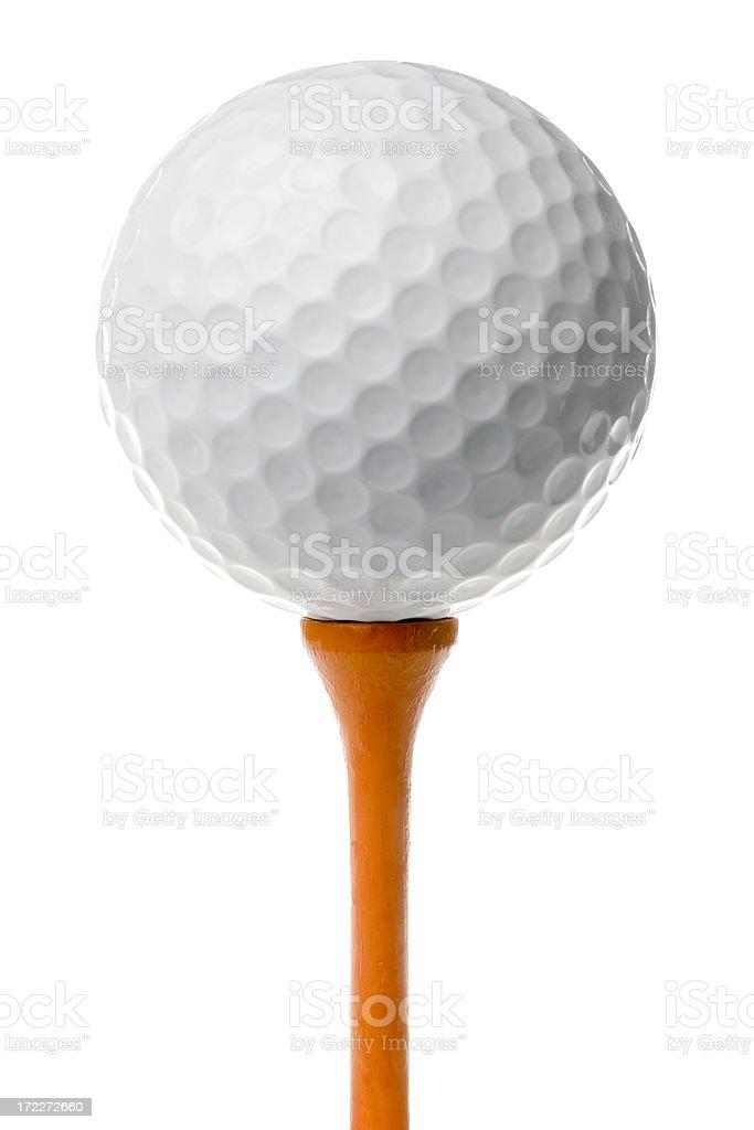Golf ball on orange tee stock photo