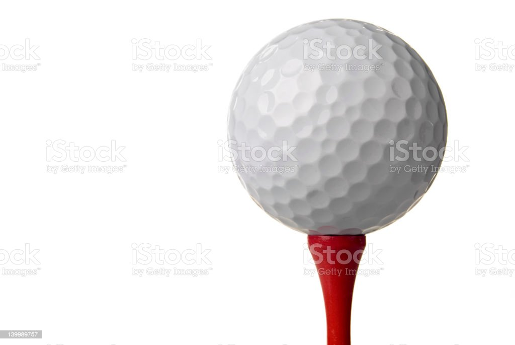 Golf ball on red tee royalty-free stock photo