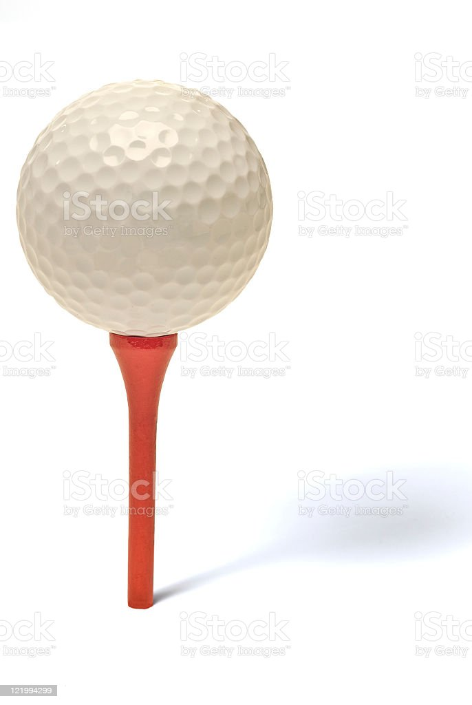 Golf Ball On Red Tee With Shadow royalty-free stock photo