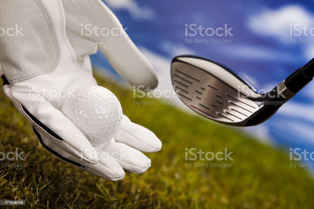 Golf ball on tee royalty-free stock photo