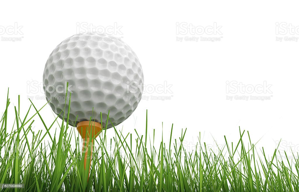 golf ball on tee with green grass stock photo