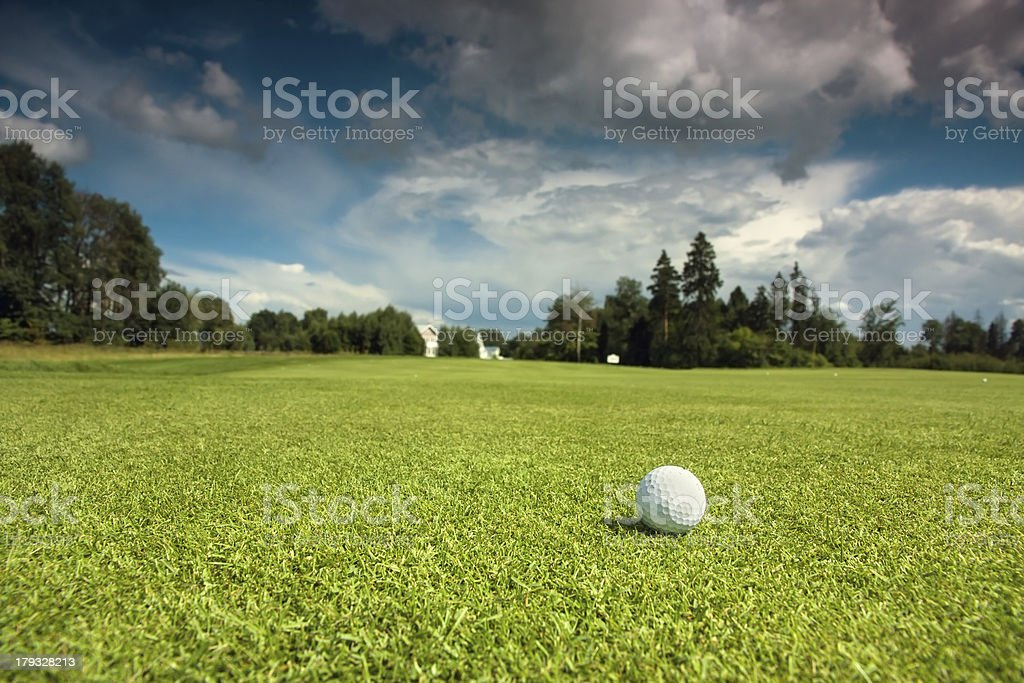 Golf ball on the course royalty-free stock photo