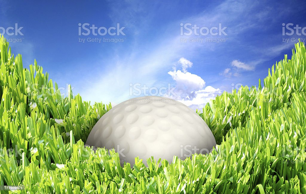 Golf ball on the fairway royalty-free stock photo