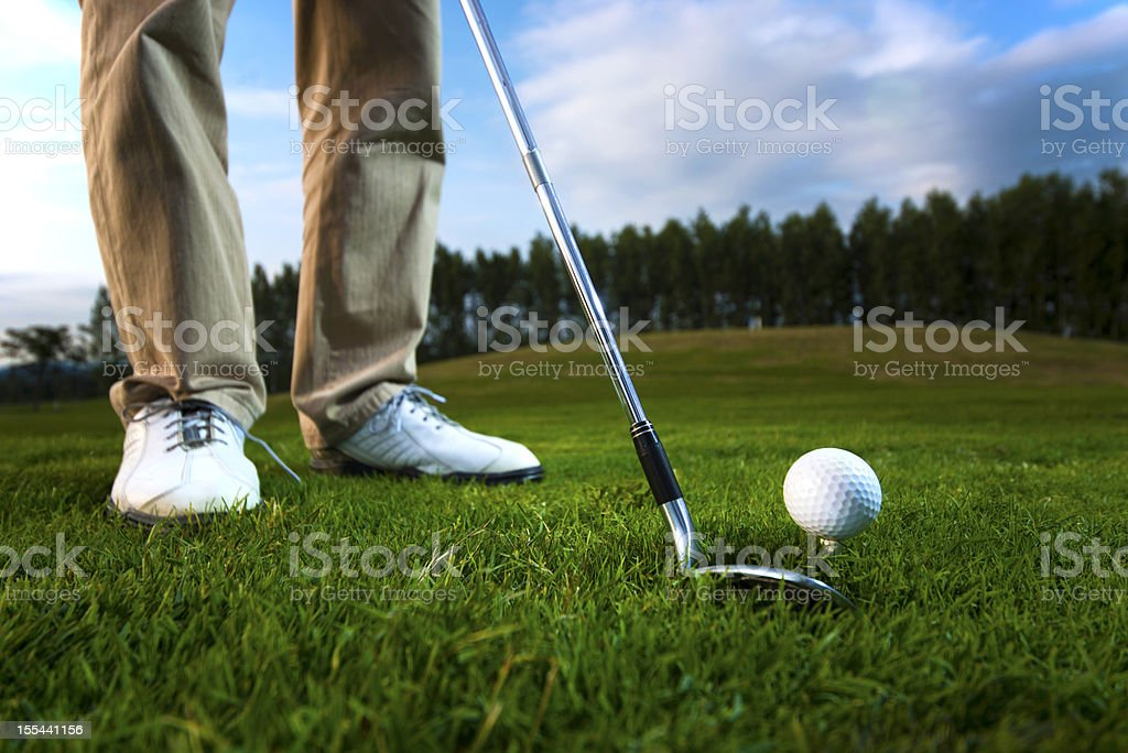 Golf ball on the tee royalty-free stock photo