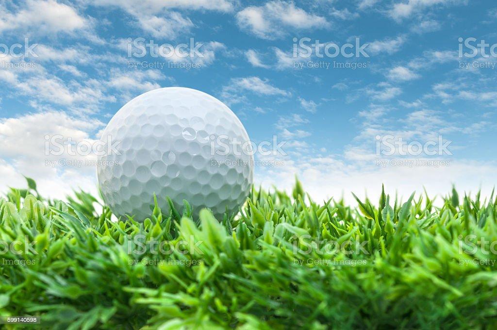 Golf ball on the way stock photo