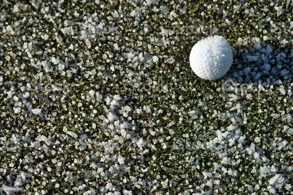 Golfball auf Wintergras mit Eisblumen stock photo