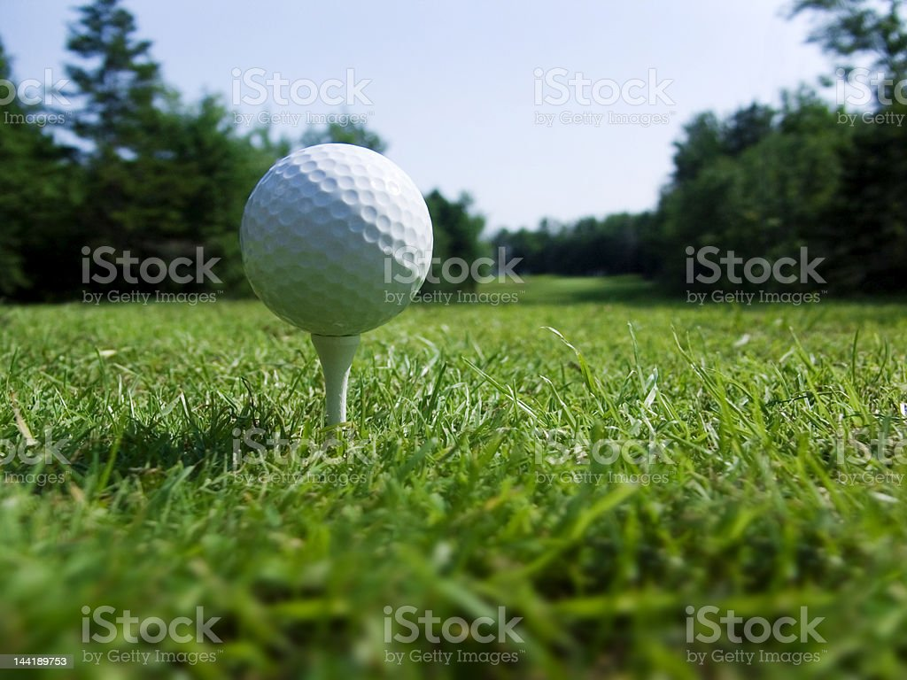 Golf Ball ready and waiting stock photo