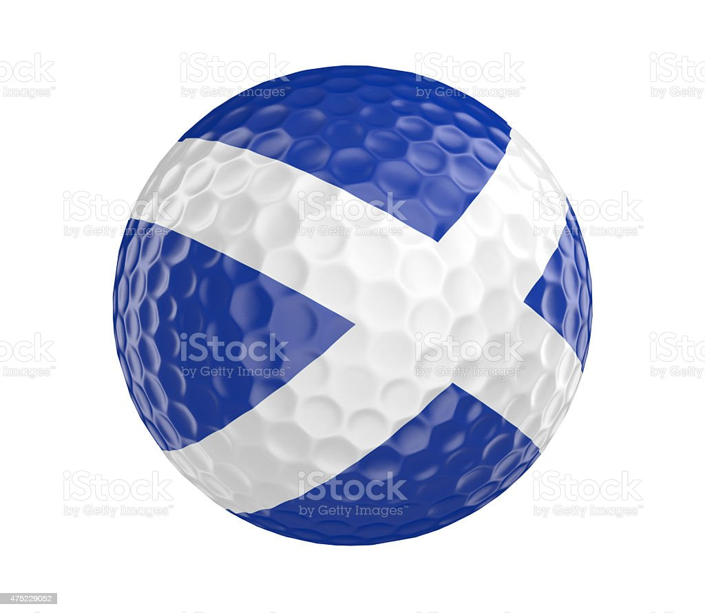 Golf ball render with Scotland flag, isolated on white vector art illustration