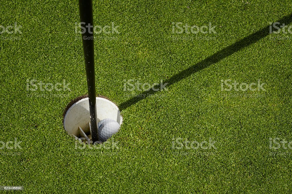 Golf ball sit inside cup on golf course putting green with flag.