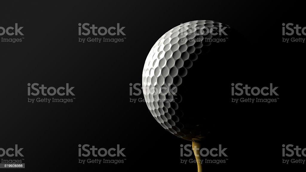 ゴルフボール、ティー黒を背景にしたます。クリッピングパスます。 ロイヤリティフリーストックフォト