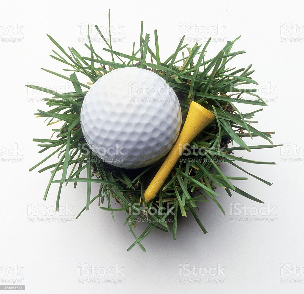 Golf Ball & Tee on Grass royalty-free stock photo