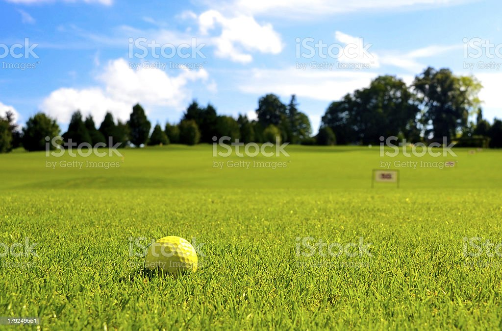Golf ball with range numbers stock photo