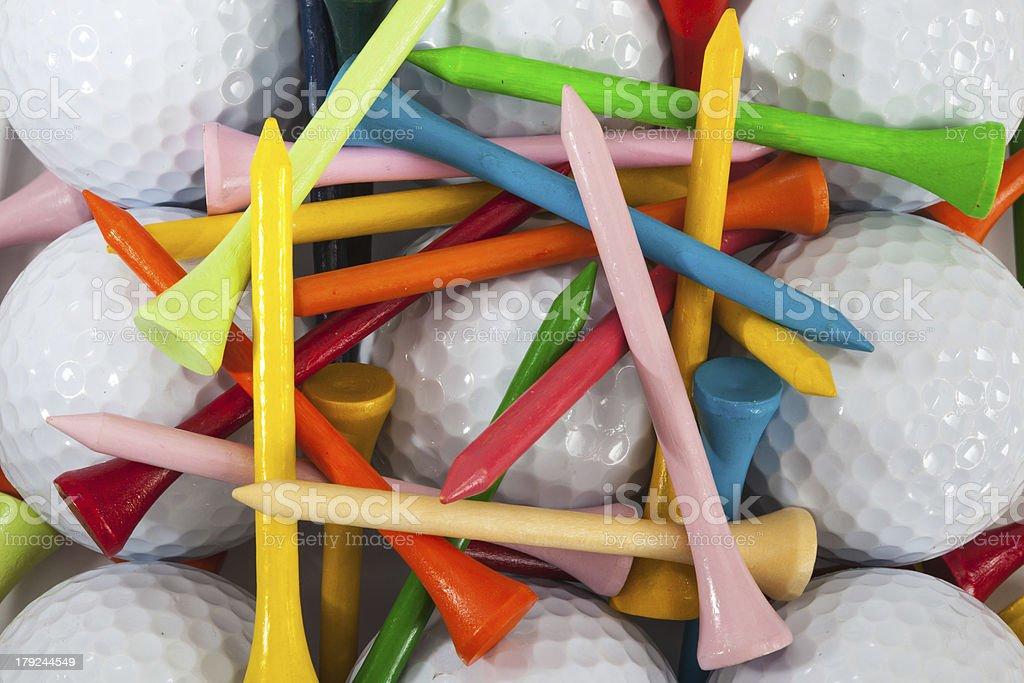 Golf balls and tees royalty-free stock photo
