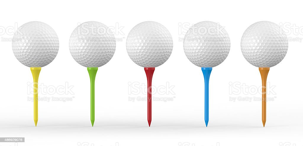 Golf Balls On Colored Tees stock photo