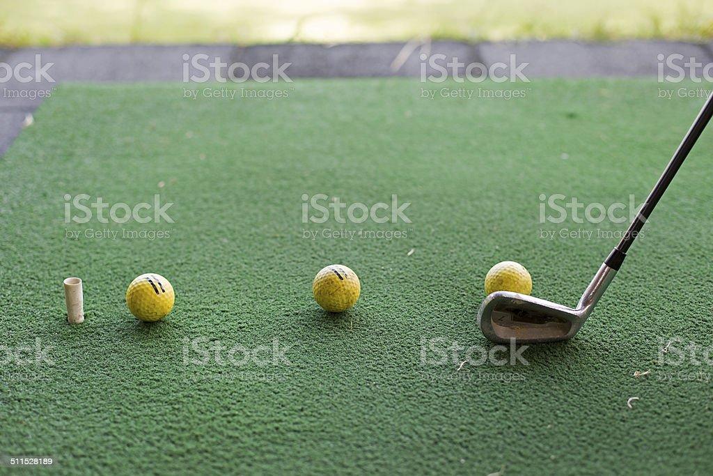 Golf Balls Waiting to Hit stock photo