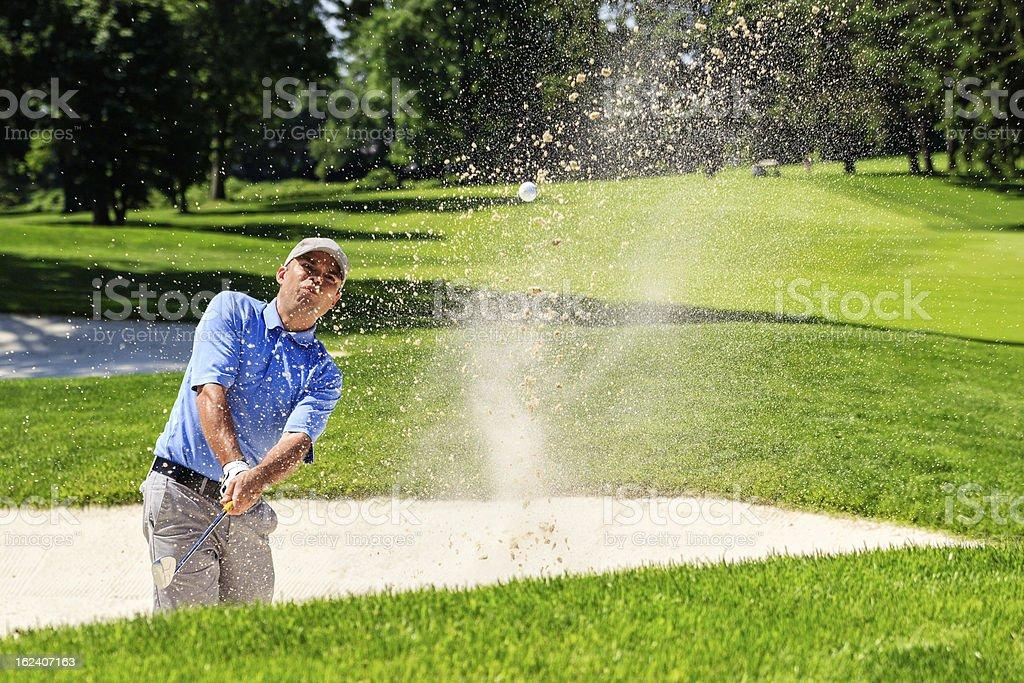Golf Bunker Shot stock photo