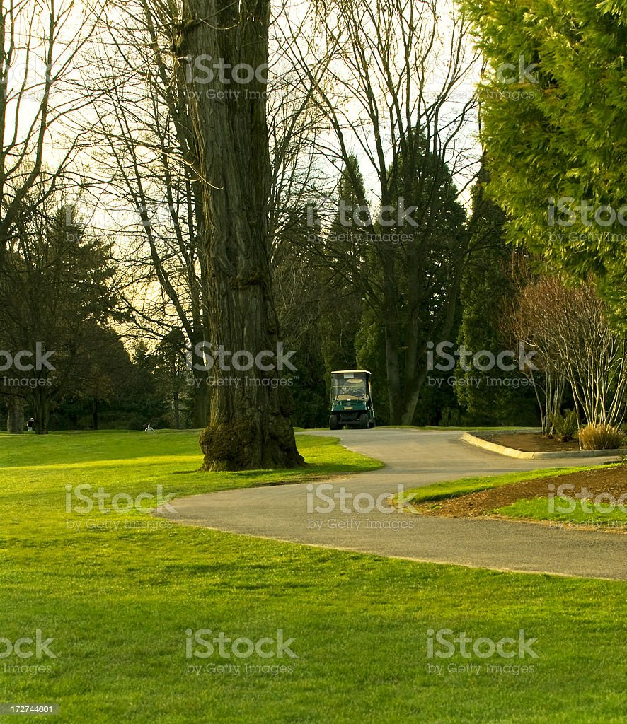 Golf cart on a course royalty-free stock photo