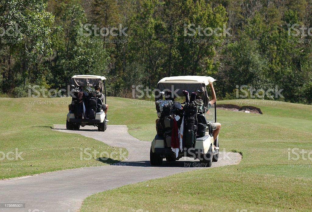 Golf Carts on Path stock photo
