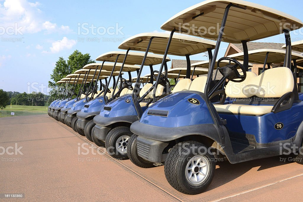 Golf Carts On The Line royalty-free stock photo