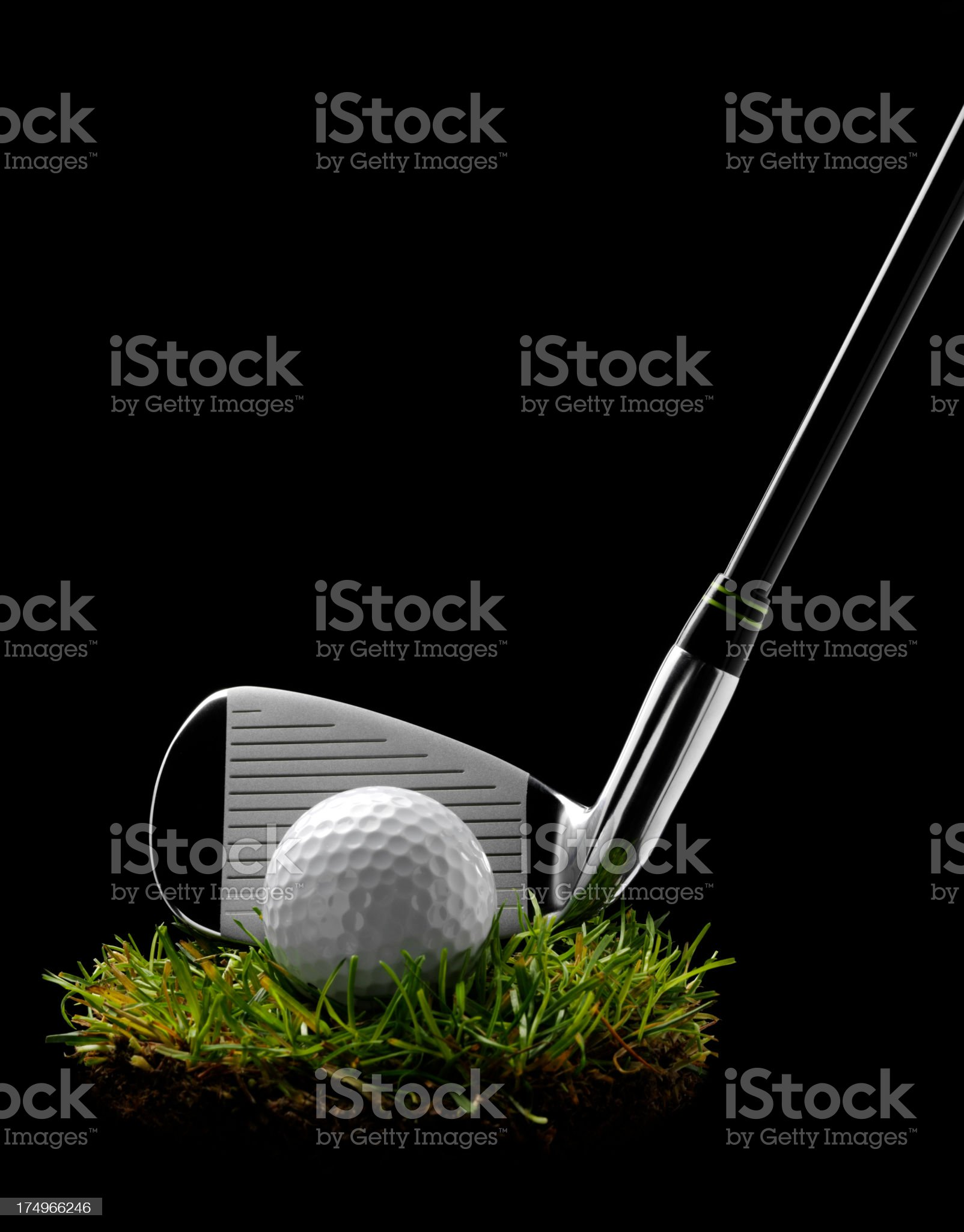 Golf Club and Ball on a Circle of Grass royalty-free stock photo