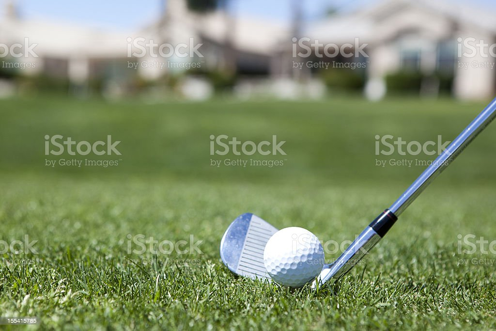 Golf Club and ball on the fairway stock photo