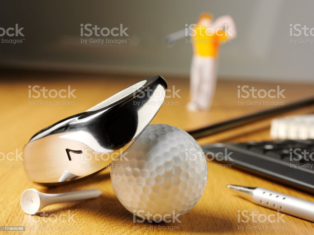 Golf Club and Ball with a Golfer royalty-free stock photo