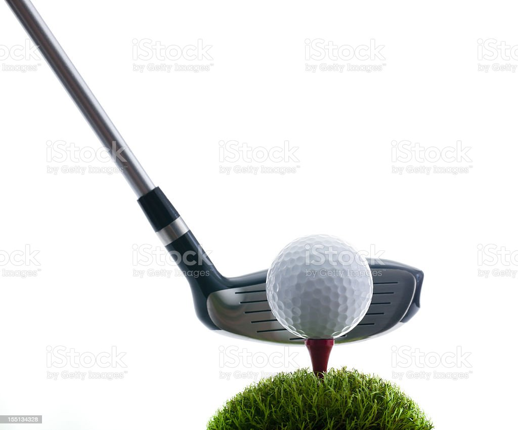 Golf Club, Ball and Tee on grass royalty-free stock photo