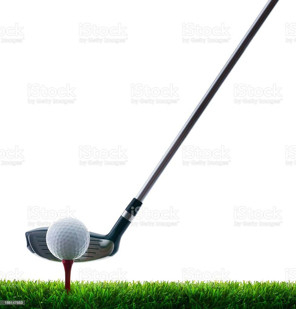 Golf Club, Ball and Tee on grass stock photo