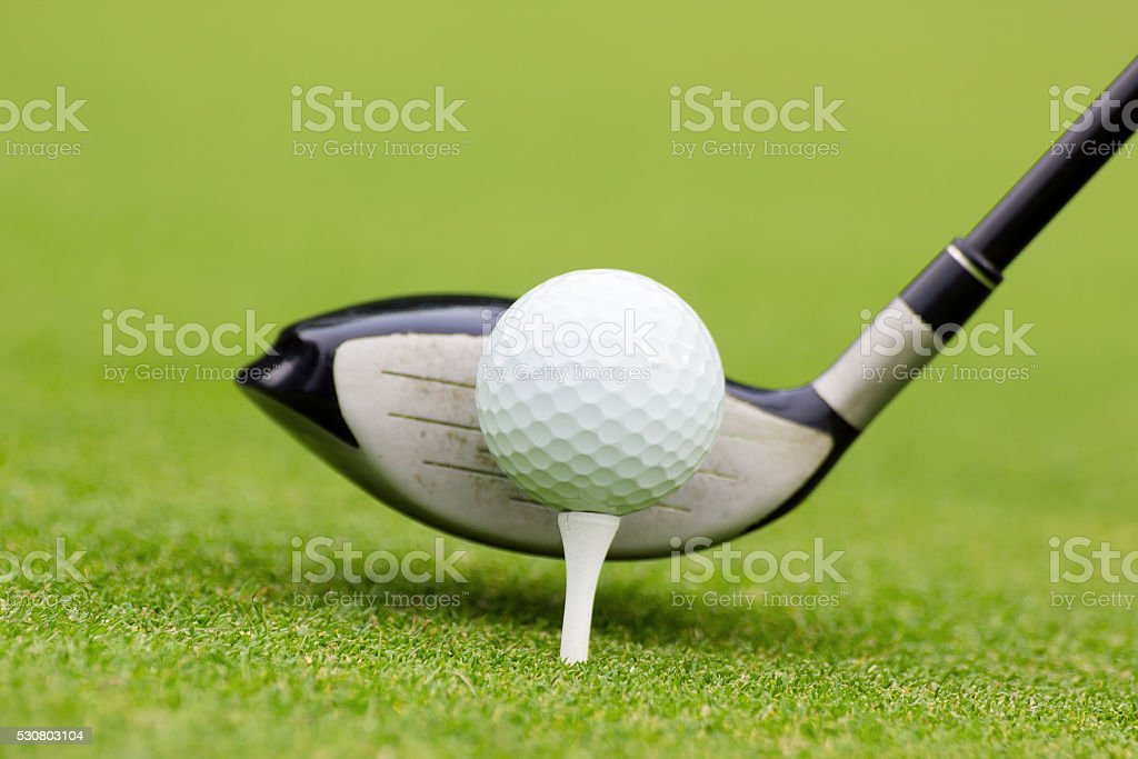 golf club behind the ball stock photo