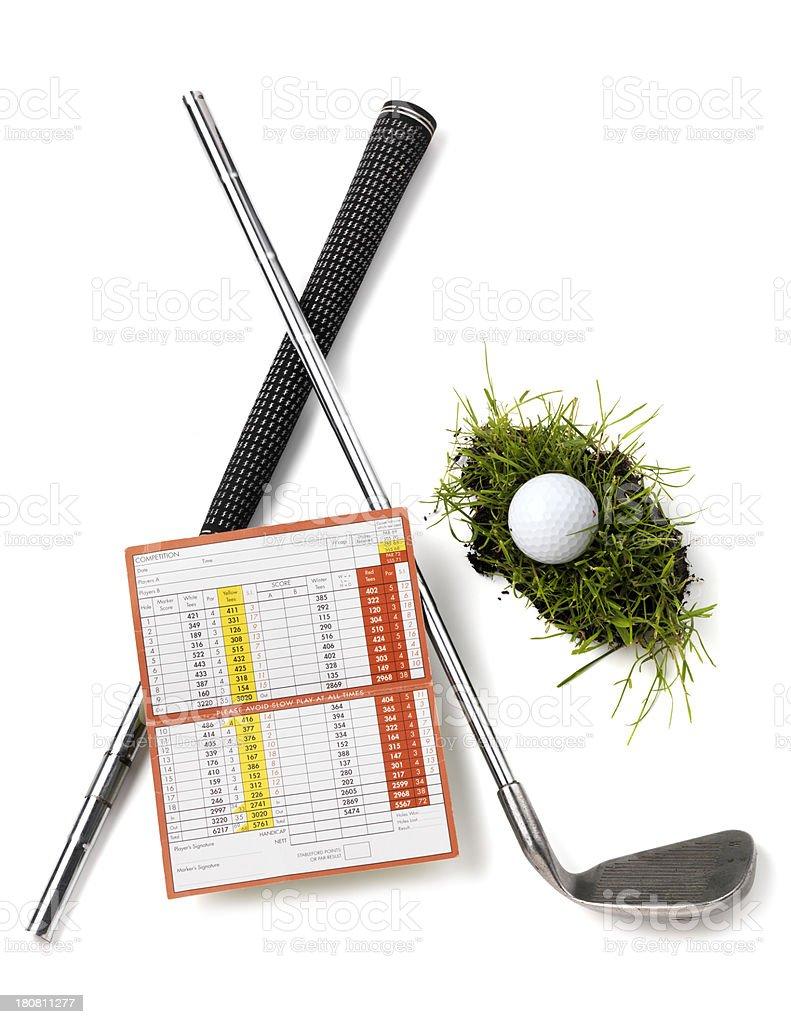 Golf club broken with scorecard royalty-free stock photo