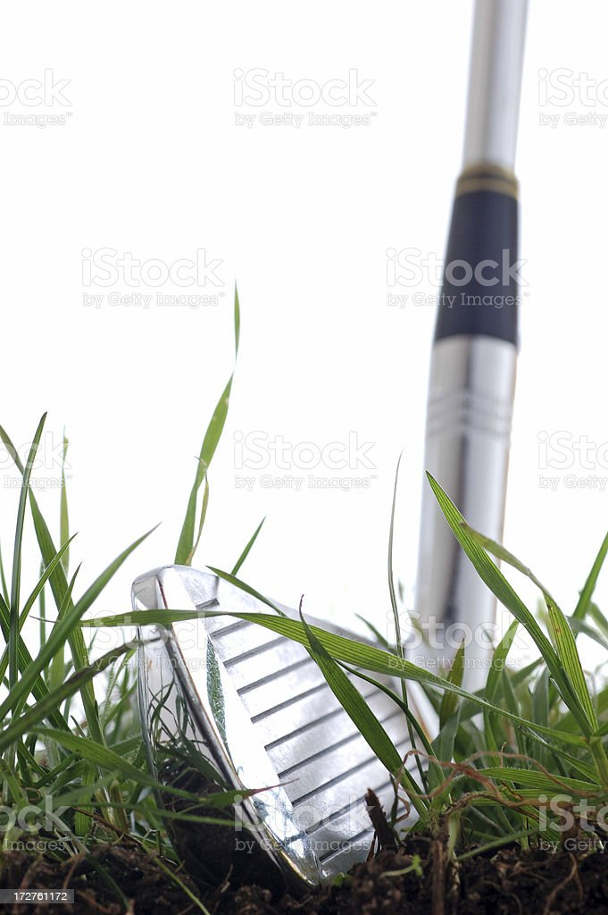 Golf club in grass royalty-free stock photo