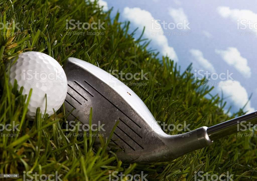 Golf club with ball on a tee stock photo