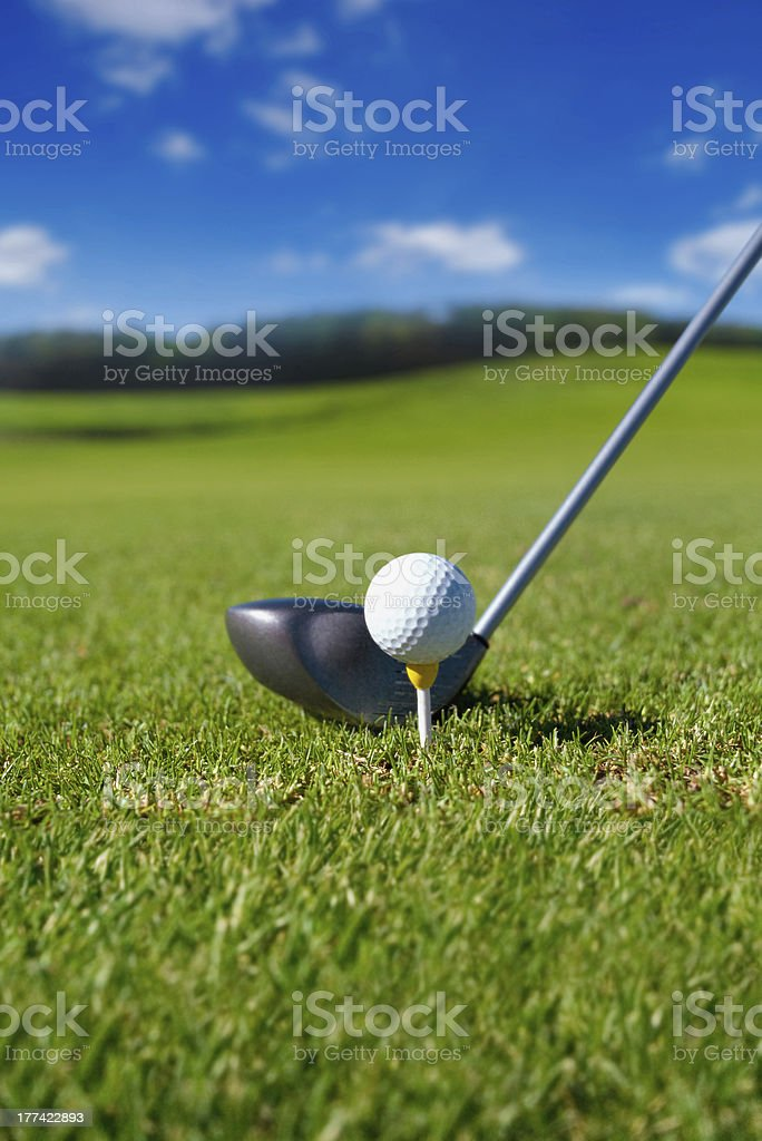 Golf club with ball on tee royalty-free stock photo