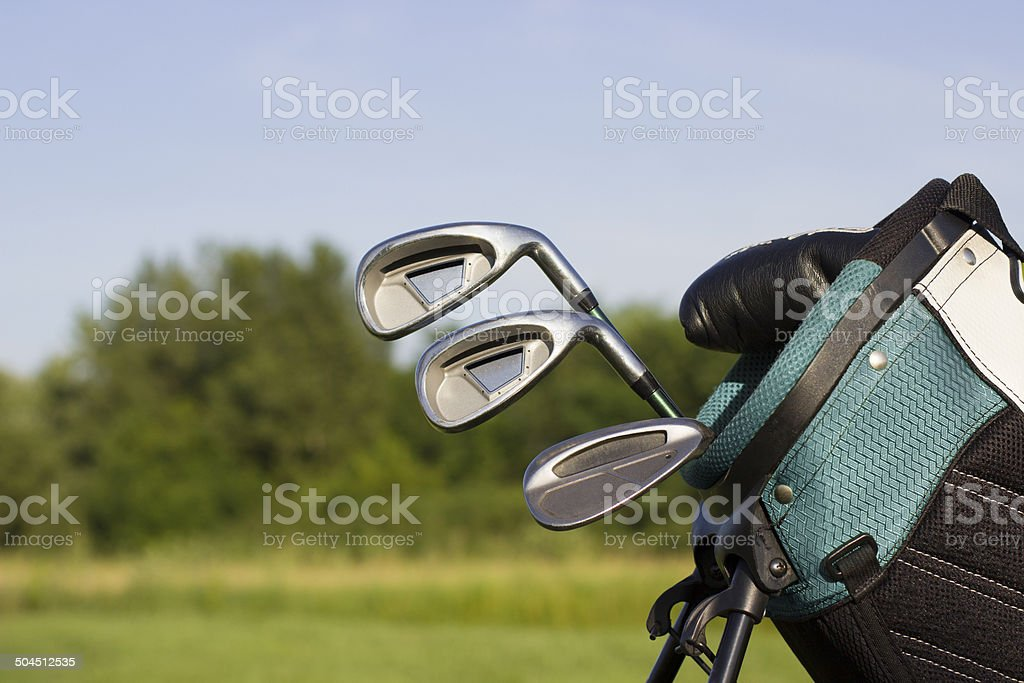 Golf clubs in a blue golf bag. Nature background.