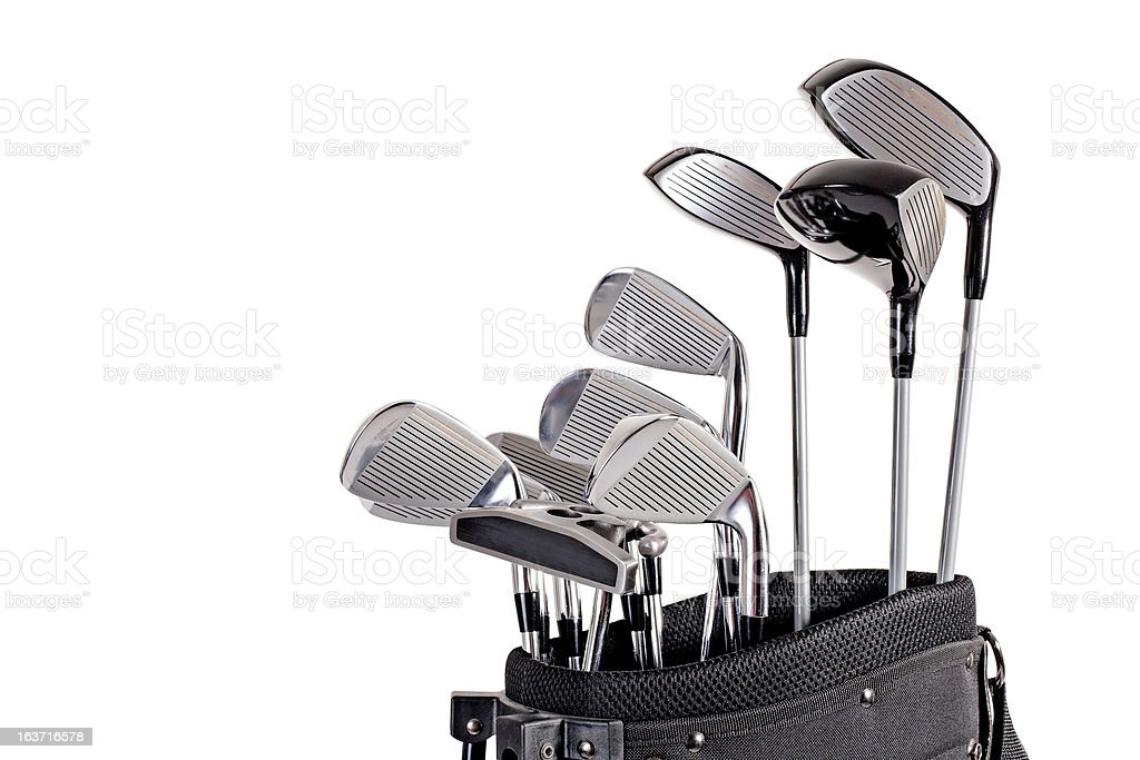 golf clubs in bag up close stock photo