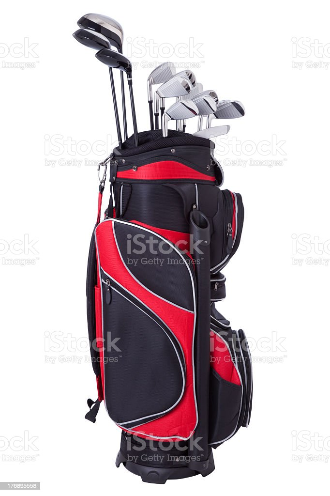 Golf clubs in red and black bag isolated on white stock photo