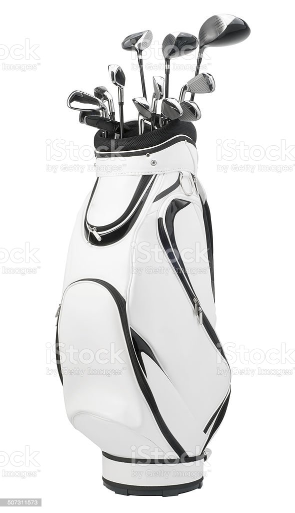Golf clubs in white and black bag isolated on white stock photo