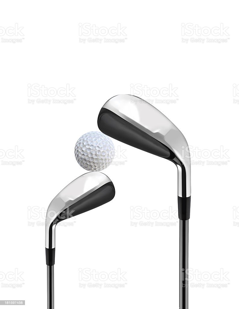 Golf Clubs isolated on white royalty-free stock photo