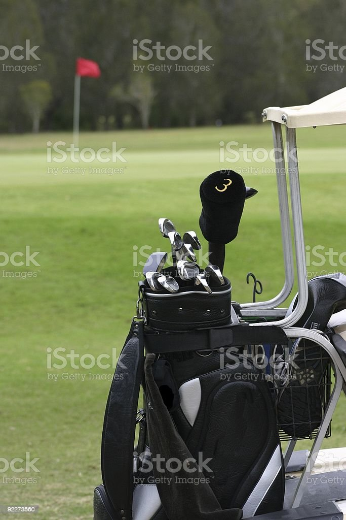 Golf Clubs on Cart royalty-free stock photo