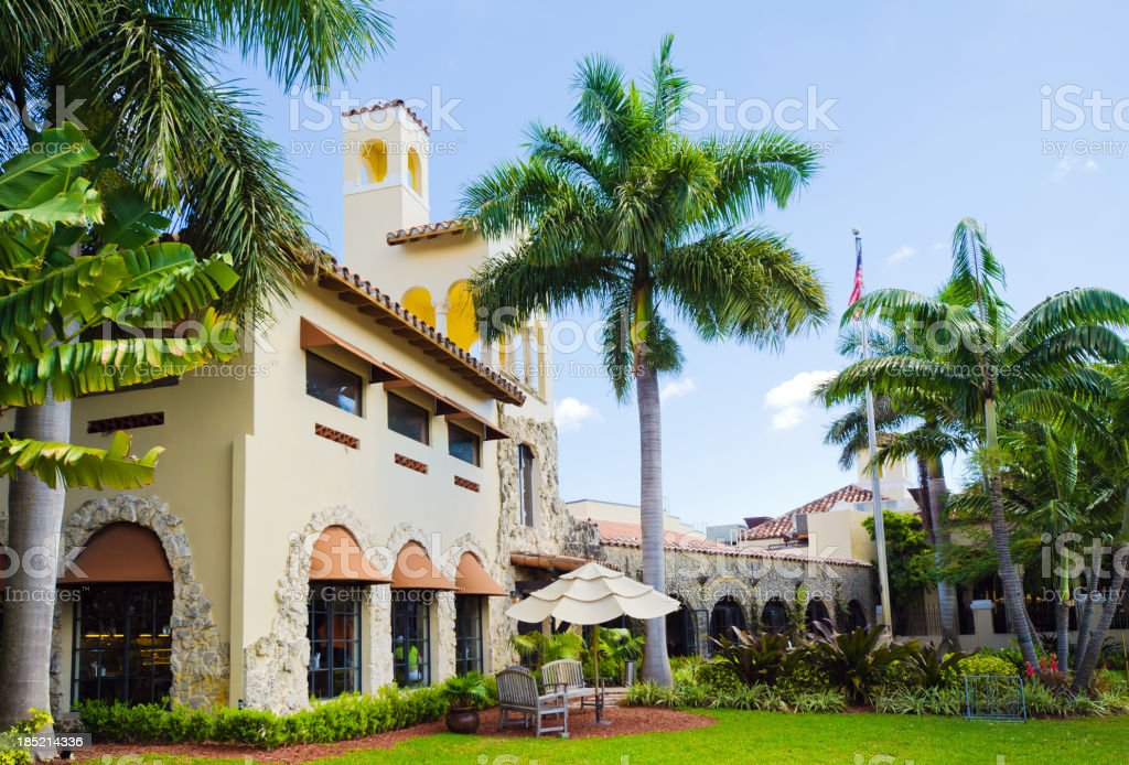 Golf country club with palm trees in Coral Gables, FL stock photo