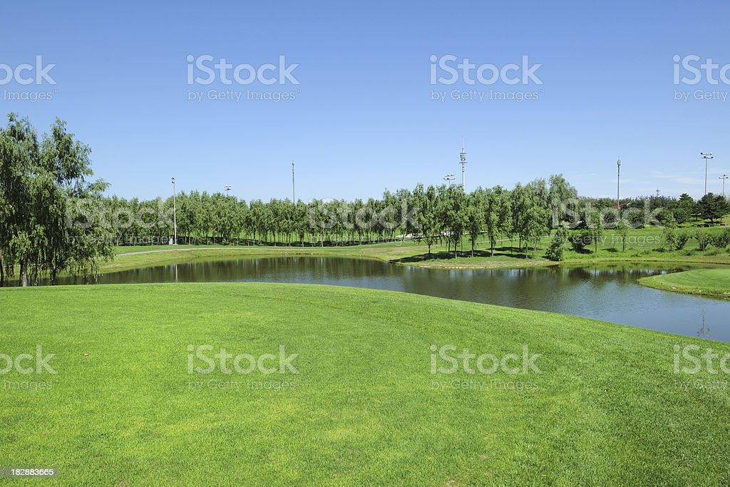 Golf Course and River - XLarge royalty-free stock photo