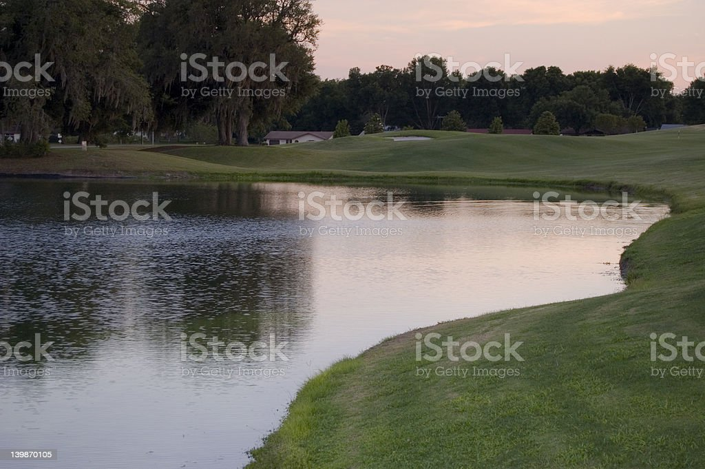 Golf Course at Dusk royalty-free stock photo