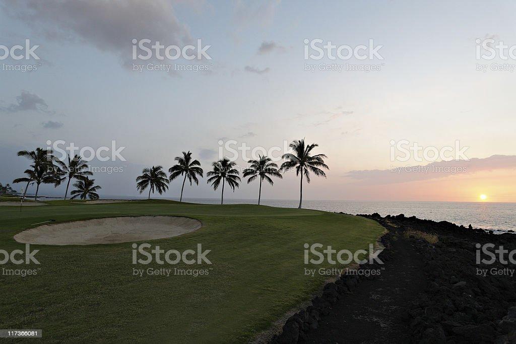 Golf Course at Sunset, Hawaii stock photo