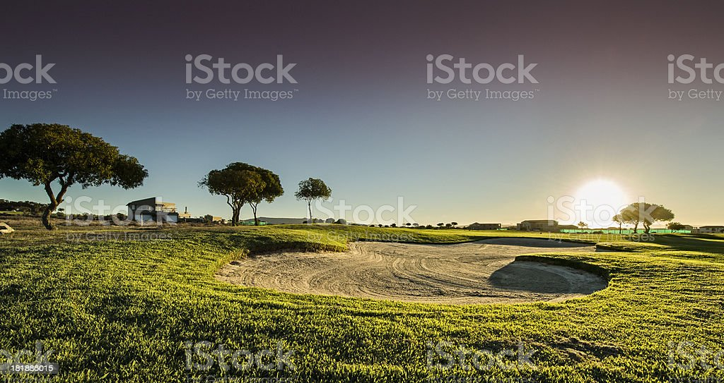 Golf course bunker at last light royalty-free stock photo