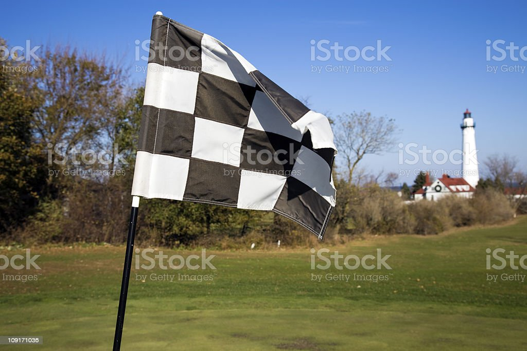 Golf course by Lake Michigan royalty-free stock photo