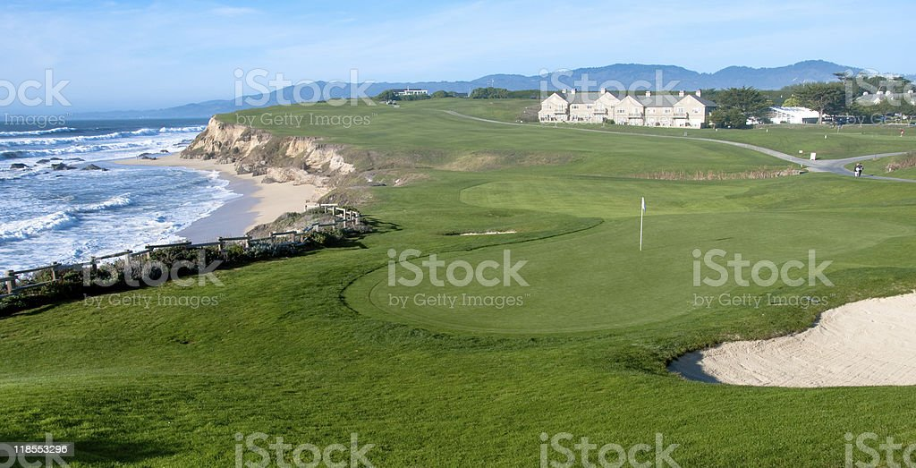 Golf course by the ocean stock photo