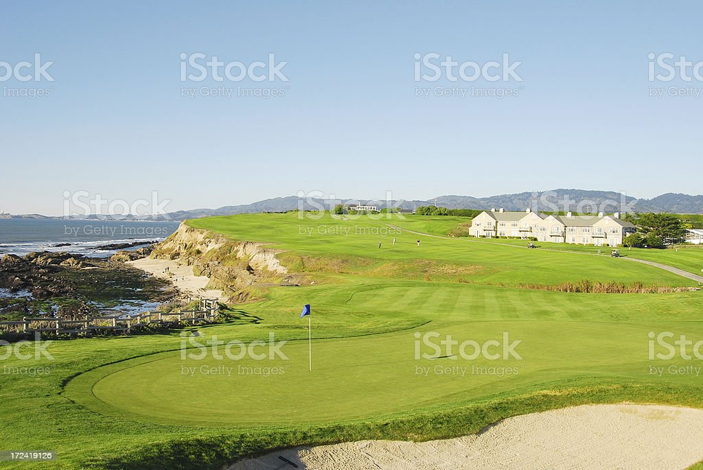 Golf Course by the Ocean royalty-free stock photo