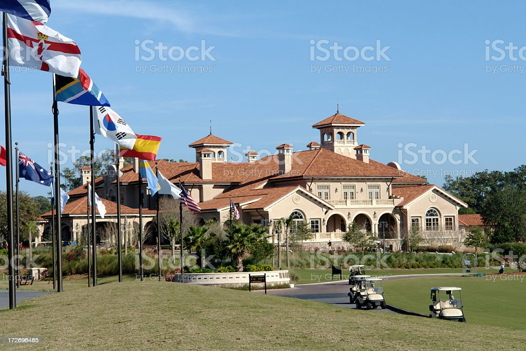 TPC Golf Course Club House & Flags stock photo
